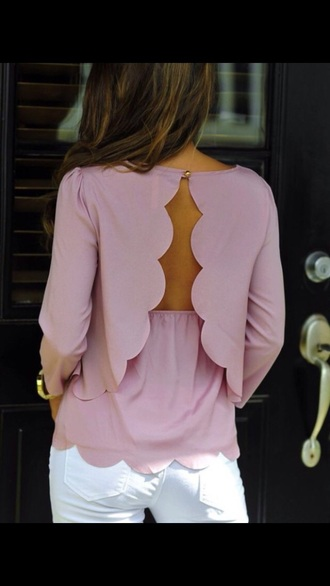 blouse flowy pink blouse long sleeves style open back