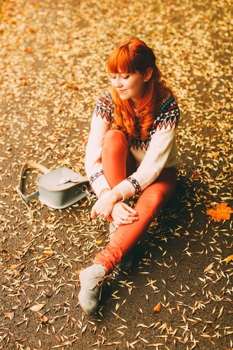 the clothes blogger red hair fall outfits fall colors rust fall sweater