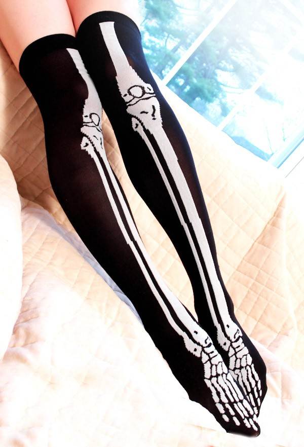 Skeleton Over Knee Socks