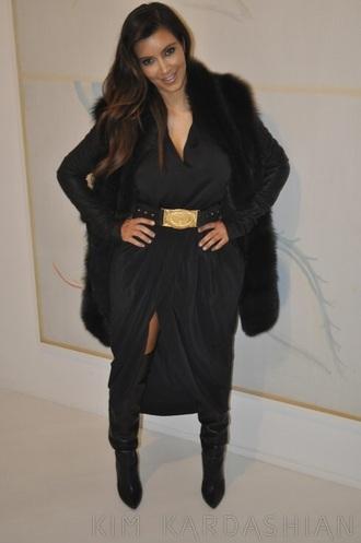 black black dress thigh high boots gold kim kardashian sexy dress sexy fur fur coat winter outfits