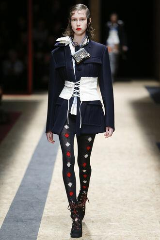 jacket tights boots prada coat runway fashion fashion week 2016 milan fashion week 2016