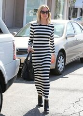 dress,maxi dress,stripes,kristin cavallari,fall outfits,boots,sunglasses,black boots,chinese laundry