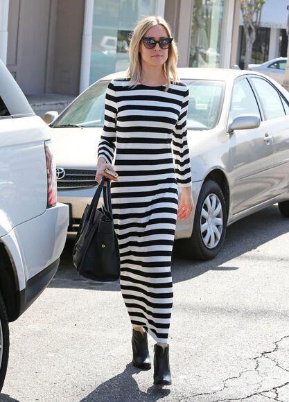 dress maxi dress stripes kristin cavallari fall outfits boots sunglasses black boots chinese laundry