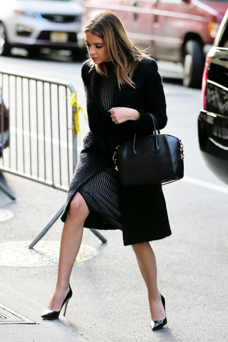 dress ashley benson celebrity style celebrity actress striped dress coat black coat winter coat pumps pointed toe pumps high heel pumps black pumps bag black bag handbag givenchy givenchy bag