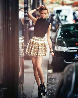 skirt white skater skirt gold retro beautiful model off-duty victoria's secret
