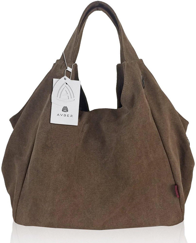 Womens Pure Color Hobo Canvas Handbag Shoulder Bag Coffee ...