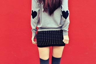 sweater skirt clothes heart heart sweater