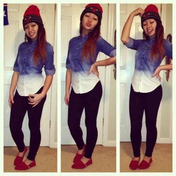 hat beanie denim shirt toms leggings shirt