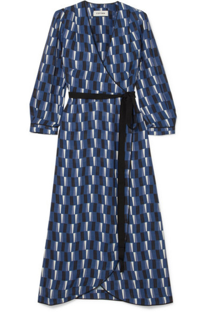 Cefinn - Printed Satin Wrap Midi Dress - Blue