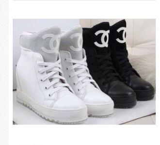 shoes chanel white sneakers wedge sneakers