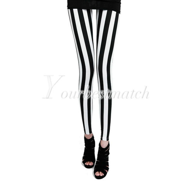 Black White Vertical Stripes Zebra Skinny Slim Cotton Sexy Leggings Tights Pants | eBay