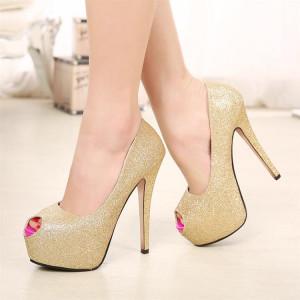 Golden Stiletto Pumps with Peep Toe Platform Shoes for Wedding
