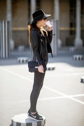 meet me in paree,blogger,hat,black hat,leather jacket,biker jacket,grey jeans,black sneakers