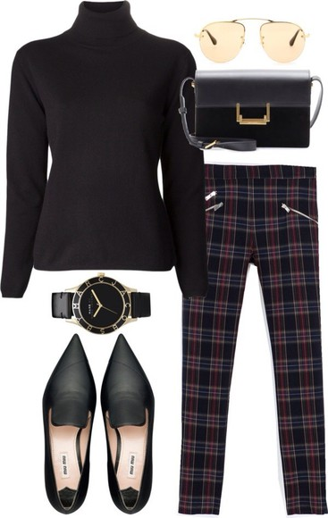 jewels watch belt gold shirt black marc jacobs marc jacobs watch bag sun glasses high neck tartan trousers shoes green going out woop ha jeans pants