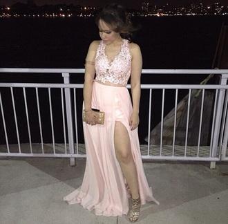 dress prom pink long v neck floral lace crop top dress prom dress brown hair deep v neck dress