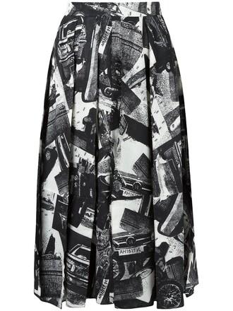 skirt printed skirt women black wool