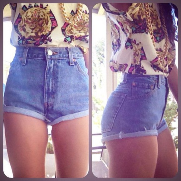 t-shirt jewels top denim High waisted shorts jewelry too dope tiger shirt