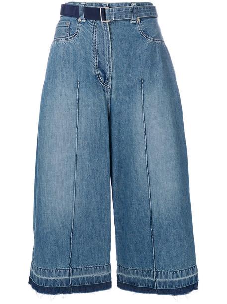 Sacai culottes denim culottes denim high women cotton blue pants