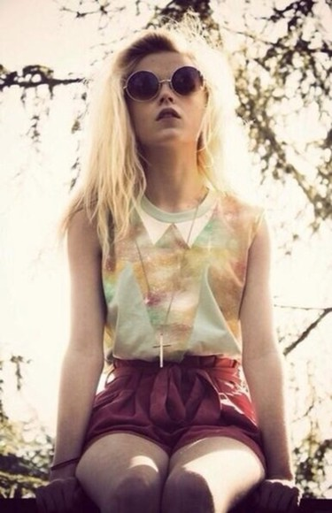triangle shirt collared shirts peter pan collar galaxy round sunglasses soft grunge tank top high waisted short teal