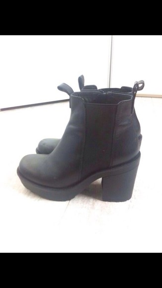 shoes black ankle boots high heels