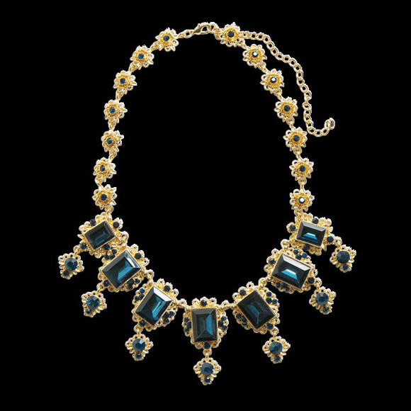 rhinestone jewels gold blue statement necklace lindex statement neckpiece big necklace