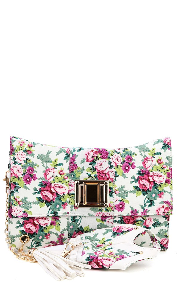 White Floral Clutch With Hand Cuff And Shop Handbags At