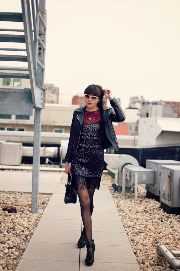 natalie off duty t-shirt dress sunglasses jacket jewels shoes