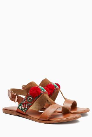 0afe85b2da45ca Buy Tan Aztec Beaded Sandals from the Next UK online shop
