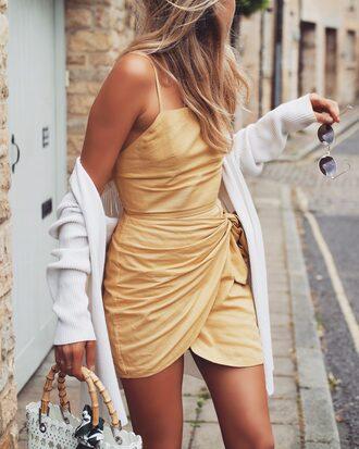 dress tumblr yellow yellow dress mini dress wrap dress spring outfits spring dress