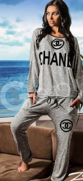 pants jumpsuit outwear outfit chanel off the shoulder sweatsuit tracksuit everyday wear one shoulder