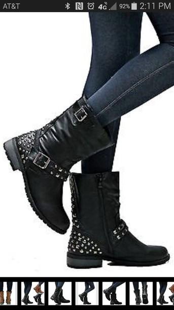 shoes black studded biker boots