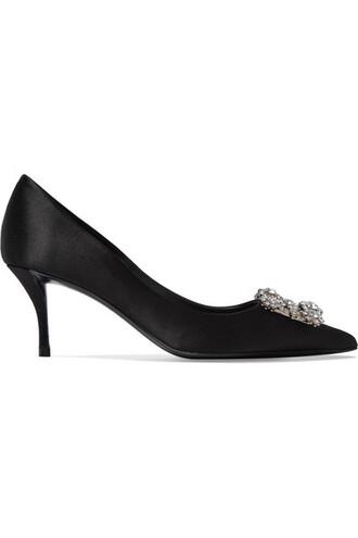 embellished pumps black satin shoes