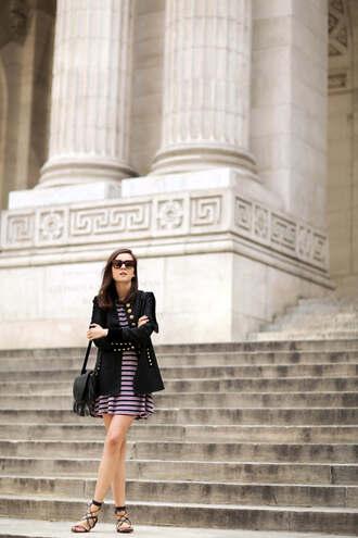 style scrapbook blogger dress jacket shoes bag sunglasses