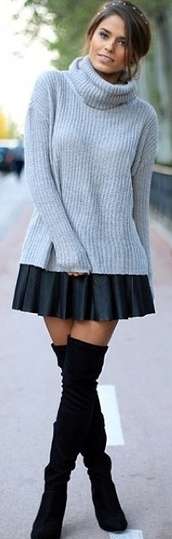 sweater,grey marl,ribbed sweater,cowl neck,cozy,winter sweater,winter wardrobe,oversized sweater,essential,longline,warm,skirt,shoes