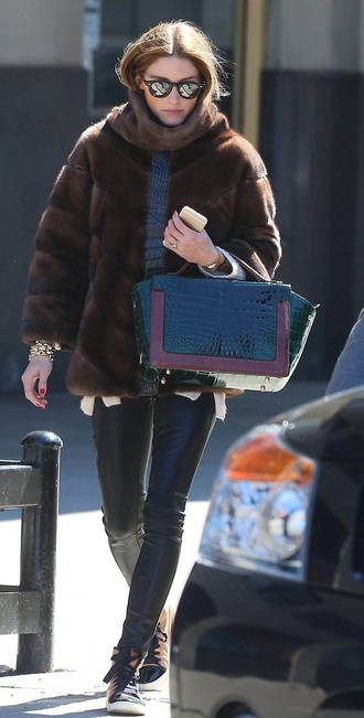 shoes sneakers fur fur coat olivia palermo