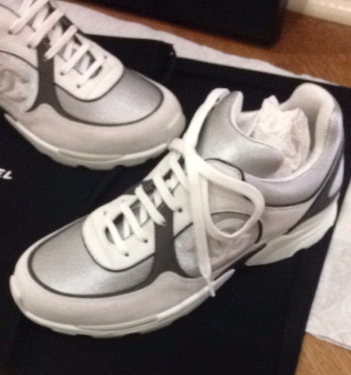 9bec4e5c270 nib Auth Silver gray white Suede Cc Logo CHANEL 15 sneakers ...