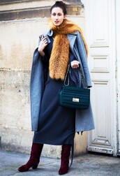 dress,maxi knit dress,tumblr,maxi dress,blue dress,knitwear,knitted dress,sweater dress,scarf,fur scarf,boots,suede,suede boots,burgundy,bag,blue bag,coat,grey coat,long coat,cold weather outfit,winter outfits,winter look