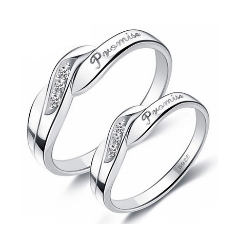 Unique Engraved Sterling Silver Promise Rings Set of Two Personalized Couples Gifts | His Her Necklaces and Bracelets | Engraved Wedding Rings | Couples Clothing