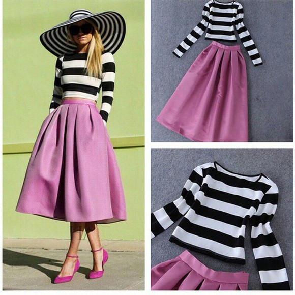pink skirt striped top
