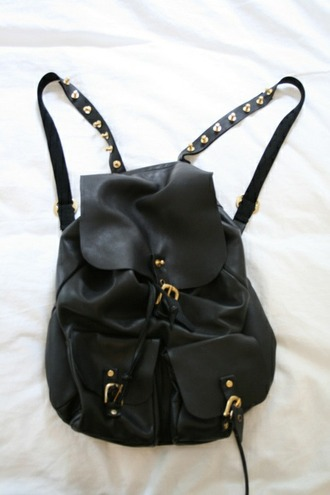 bag leather bag leather backpack black studs
