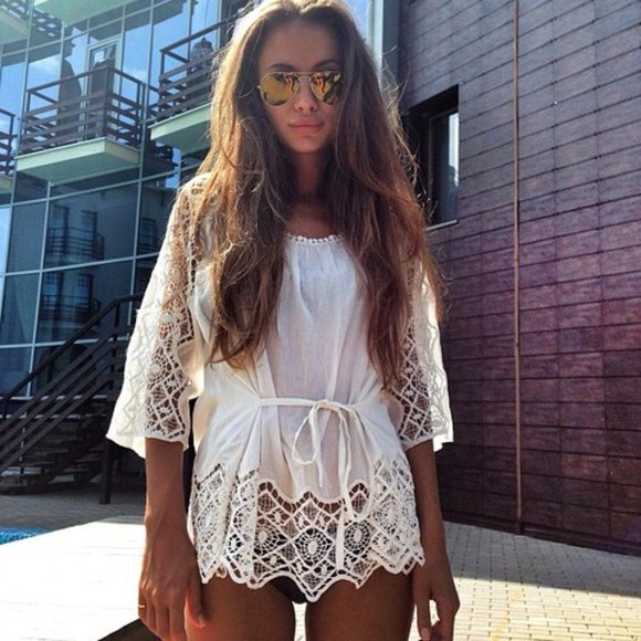 tie up cover up dress blouse tunic lace model pattern sunglasses dress summer white vintage chrochet dress white dress summer dress gold sunglasses white summer outfits cover cream white cover up cream lace white lace coverup swimwear coverup swimsuit coverup wite top summer outfits summer top