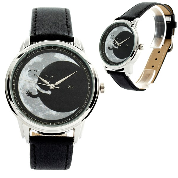 jewels watch watch moon hug ziz watch ziziztime black n white