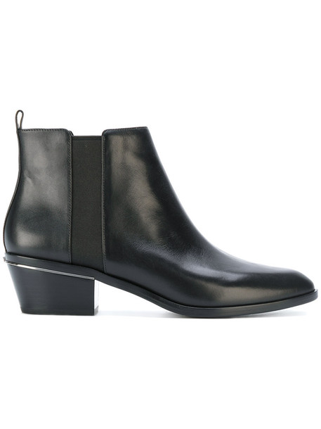 women pointed toe boots leather black shoes
