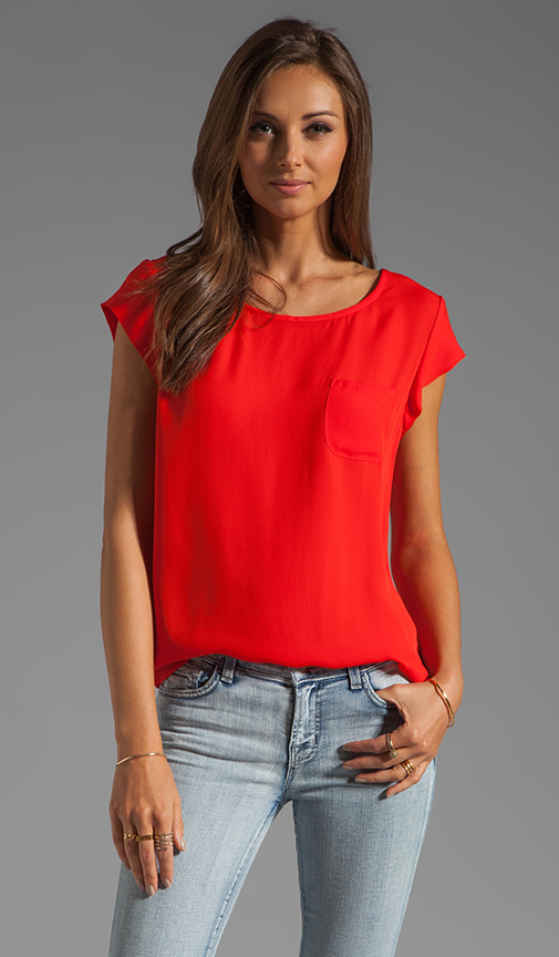 Joie rancher silk top in fiery red from revolveclothing.com