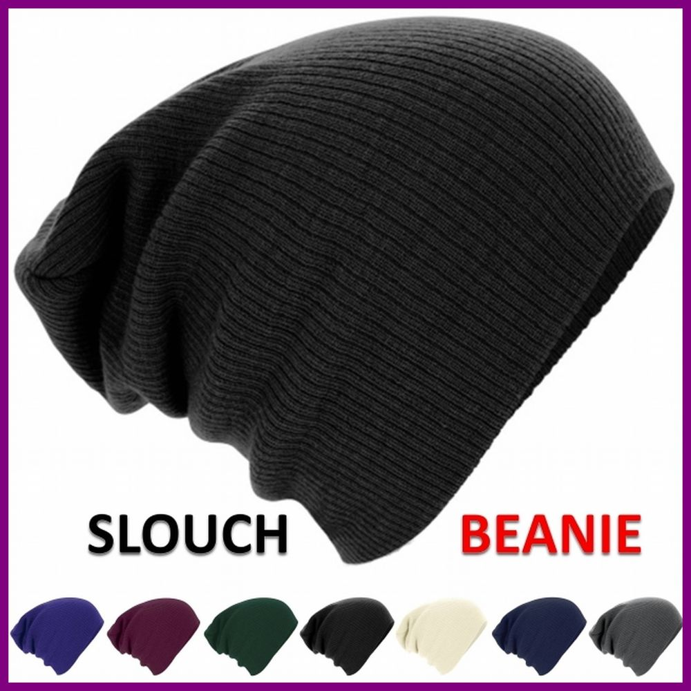 Mens Ladies Knitted Woolly Winter Oversized Slouch Beanie Hat Cap skateboard | eBay