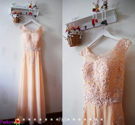 Blush evening dress, sexy blush lace prom evening gown, blush lace bridesmaid dress, peach bridesmaid dress, long blush dress, blush dress