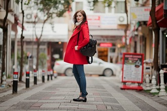 the bow-tie blogger red coat coat sweater jeans shoes