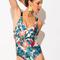 Multicolor floral strappy back cross one-piece swimsuit