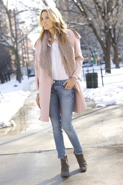 mind body swag blogger jeans trench coat pink coat fur scarf coat jacket shirt shoes sunglasses jewels
