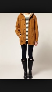 jacket,rainy,tan coat,tan jacket,tan sweater,hipster,grunge,winter jacket,fall outfits,tan/black coat,stripes,gucci,warm coats,warm winter coat,funny,winter coat,fall sweater,mustard,hunter boots,boots